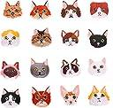 ワッペン ねこ 刺繍 アップリケ 16枚 アイロン 刺繍 動物 猫 パッチ 縫い付け 手袋 手帳 衣類 かばん 飾りアクセサリー お祝い贈り物