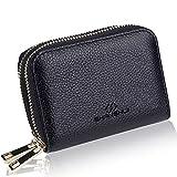 スキミング防止 カードケース 本革 大容量 SHANSHUI クレジット じゃばら 小銭入れ コイン 財布 レディース メンズ(ブラック)