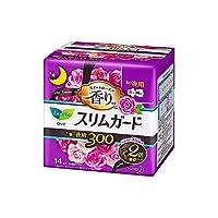 花王 ロリエ スリムガード スイートローズの香り しっかり夜用 羽つき 30cm 14個入 × 16個セット