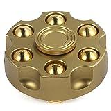 COMROLL 弾丸型 ハンドスピナー 6?8分平均スピン 円型 指スピナー リボルバー型 Hand Spinner(ゴールド)