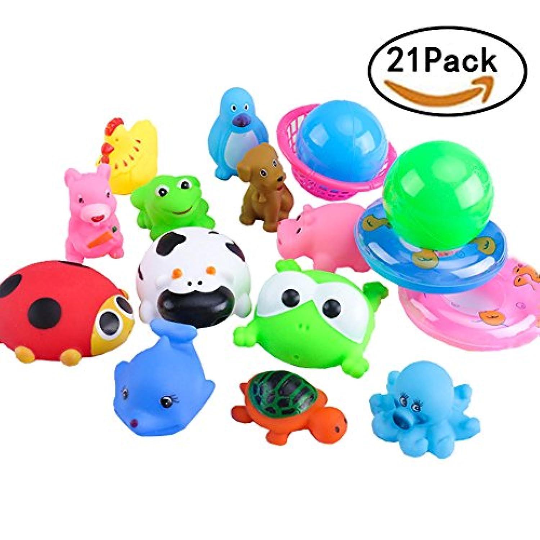 お風呂用おもちゃ 水遊び おもちゃ お風呂 シャワー あびる かわいい動物 21点セット おせわパーツ 水遊び バス 玩具 お風呂セット 幼児 子供