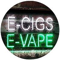 E-Cigs E-Vape Indoor Display Shop Dual LED看板 ネオンプレート サイン 標識 White & Green 400 x 300 mm st6s43-i2073-wg