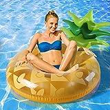 インフレータブルパイナップルスイミングプールフローティングベッド、ウォーターハンモックラウンジチェア、スイミングリング、大人と子供に適し、夏のビーチパーティーの楽しいおもちゃ