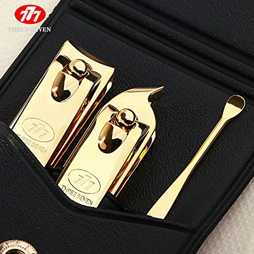 等しい不適当二層韓国輸入777爪はさみセットフラット爪はさみセット斜めスプーンセットマニキュアペディキュアナイフホーム耳ネイルツールセット装飾3セット(DS-78G)