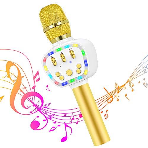 【2019最新版】BONAOK Bluetoothカラオケマイク 2600mAh大容量バッテリー ボータブルスピーカー 音楽再生 エコー対応 録音可能 伴奏機能付き LEDライト付き ノイズキャンセリング 高音質ワイヤレスマイク Android iPhone PCに対応 (ゴールデン)