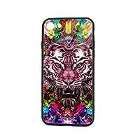 Iphone 7/8 Plus 携帯ケース スマホケース TPUガラス ケース Abstract Colorful Tiger ソフト スリム軽量 レンズ保護 耐衝撃 指紋防止