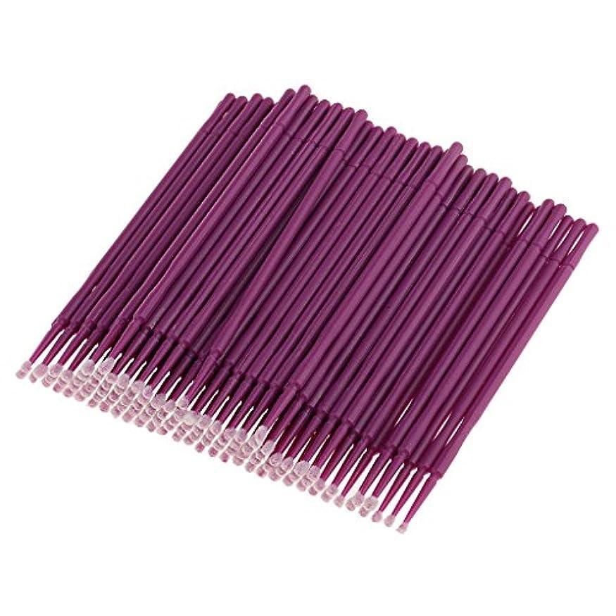 安全でないタヒチ動物Perfk 約100本 使い捨て まつげエステ 美容用具 マイクロブラシ アプリケーター ミニヒントタイプ マスカラ パープル