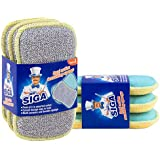 MR. SIGA Dual Action Scrubbing Sponge, Pack of 6, Size:15x8.5x2.3cm