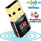 USB 2.0 WIFI 無線LAN 子機 600Mbps 高速度 デュアルバンド 2.4G/5G 11ac/n/a/g/b 11ac 433+150Mbps 802.11ac技術 Windows10/8/7/XP/Vista/Mac対応,ドライバー不要のダウンロード