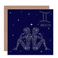 ASTROLOGY GEMINI STAR SIGN CONSTELLATION BLANK GREETINGS BIRTHDAY CARD ART 星挨拶