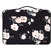 MOSISO Laptop Sleeve Compatible with 14-15.6 inch MacBook Dell Lenovo HP Asus Acer Samsung Sony,Polyester 360 Protective Case Bag Carrying Handbag with Fully Open Zipper&Mesh Pocket, Apricot Peony