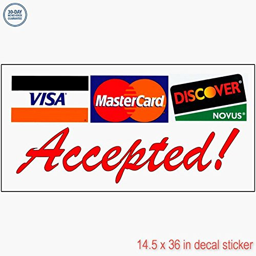 Accepted 。Visa Mastercard Discover赤デカールステッカーRetail Storeビニールラベルサイン???Sticks to Any Cleanサーフェス14.5?X 36?in