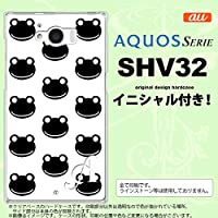 SHV32 スマホケース AQUOS SERIE カバー アクオス セリエ イニシャル カエル・かえる (G) nk-shv32-167ini V