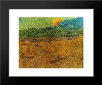 イブニングLandscape with Rising Moon 20x 24額入りアートプリントby Vincent Van Gogh