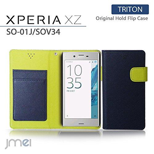 Xperia XZs SO-03J SOV35 ケース Xperia XZ SO-01J SOV34 ケース 手帳型 エクスペリアxzs カバー エクスペリアxz カバー ブランド 手帳 閉じたまま通話 ケース おしゃれ TRITON ネイビー Sony simフリー スマホ カバー スマホケース スマートフォン