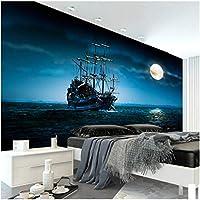 Mingld カスタム写真壁紙美しいヨットムーンライト風景カスタム壁画寝室装飾背景壁紙-400X280Cm