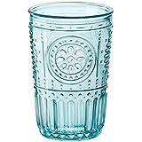 Bormioli Rocco 335944GRS021522 Romantic Cooler Glass, Set of 4, 16 oz, Light Blue