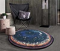 ノルディッククリエイティブファッションラウンドコーヒーテーブルマットリビングルームカーペットベッドルームベッドサイドバスケットガーデンルームカーペットコンピュータチェアブランケット(惑星4パターン) (サイズ さいず : Diameter 150cm)