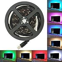 Flykul LED テープライト SMD 5050 RGB LEDテープ USB LEDライトバー 正面発光 1 M 60led 5V 防水ledテープ、広く 展示会、 舞台、 広告欄、 屋外活動、 テレビ、 衣装DIY、 夜市照明、 キャンプ、 コンピュータケースランプ、ブラック