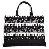 ハンドメイド感覚のKidsレッスンバッグ ピアノの上で踊る黒猫ワルツ(ブラック) 日本製 N0222700