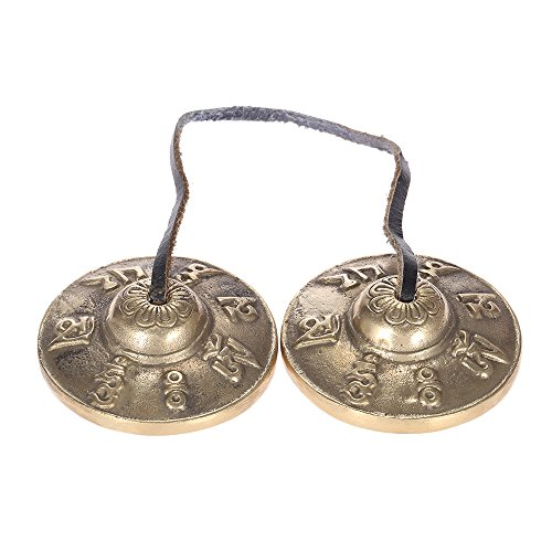 ammoon チベット密教 ティンシャ 2.6in/6.5cm 手作り?瞑想ティンシャ シンバルベル メタル製 仏教幸運記号付き ヨガや瞑想に最適