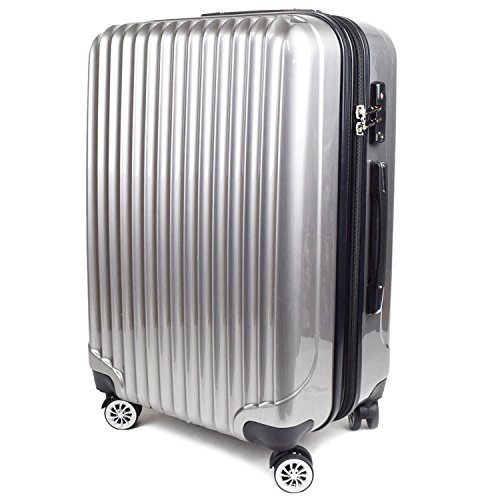 【神戸リベラル】 LIBERAL ポリカーボネート 軽量 S,M,Lサイズ スーツケース キャリーバッグ 拡張型 8輪キャスター TSAロック付き (Mサイズ(3-5泊用 55/65L), シルバーヘアライン)