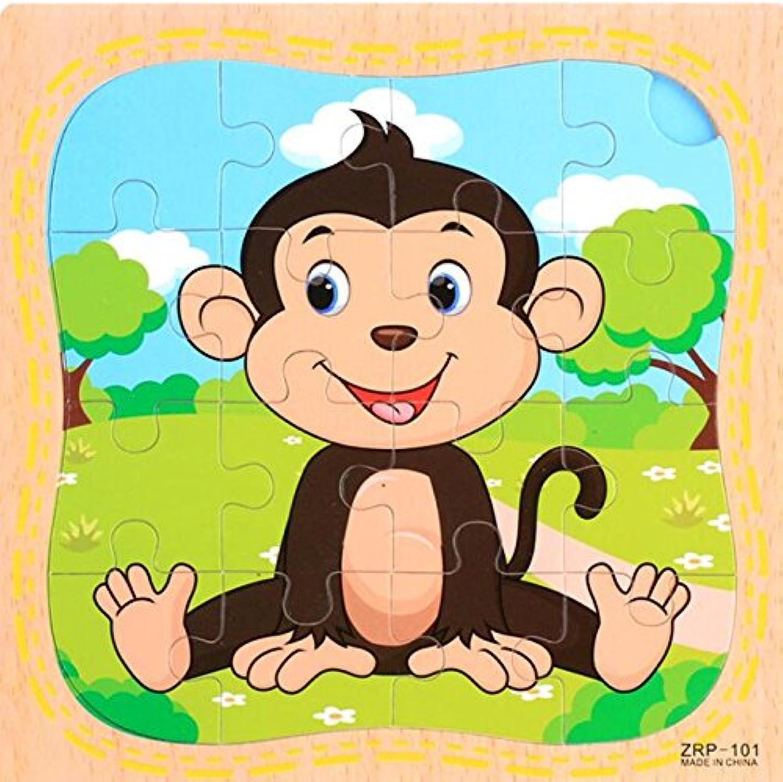 HuaQingPiJu-JP 創造的な木製動物の教育的なパズルアーリーラーニング番号の形の色の動物のおもちゃキッズのための素晴らしいギフト(猿)