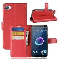 HTC Desire 12の新しいLitchi Texture横型フリップレザーケース(ウォレット、ホルダー、カードスロット付き)(ブラック) Tki (Color : Red)