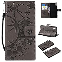 Sony Xperia XZ レザーケース、MrStar 手帳型カバーSony Xperia XZ スマホケース保護 表面 横置きスタンド機能付き Sony Xperia XZ ケース(Grey )