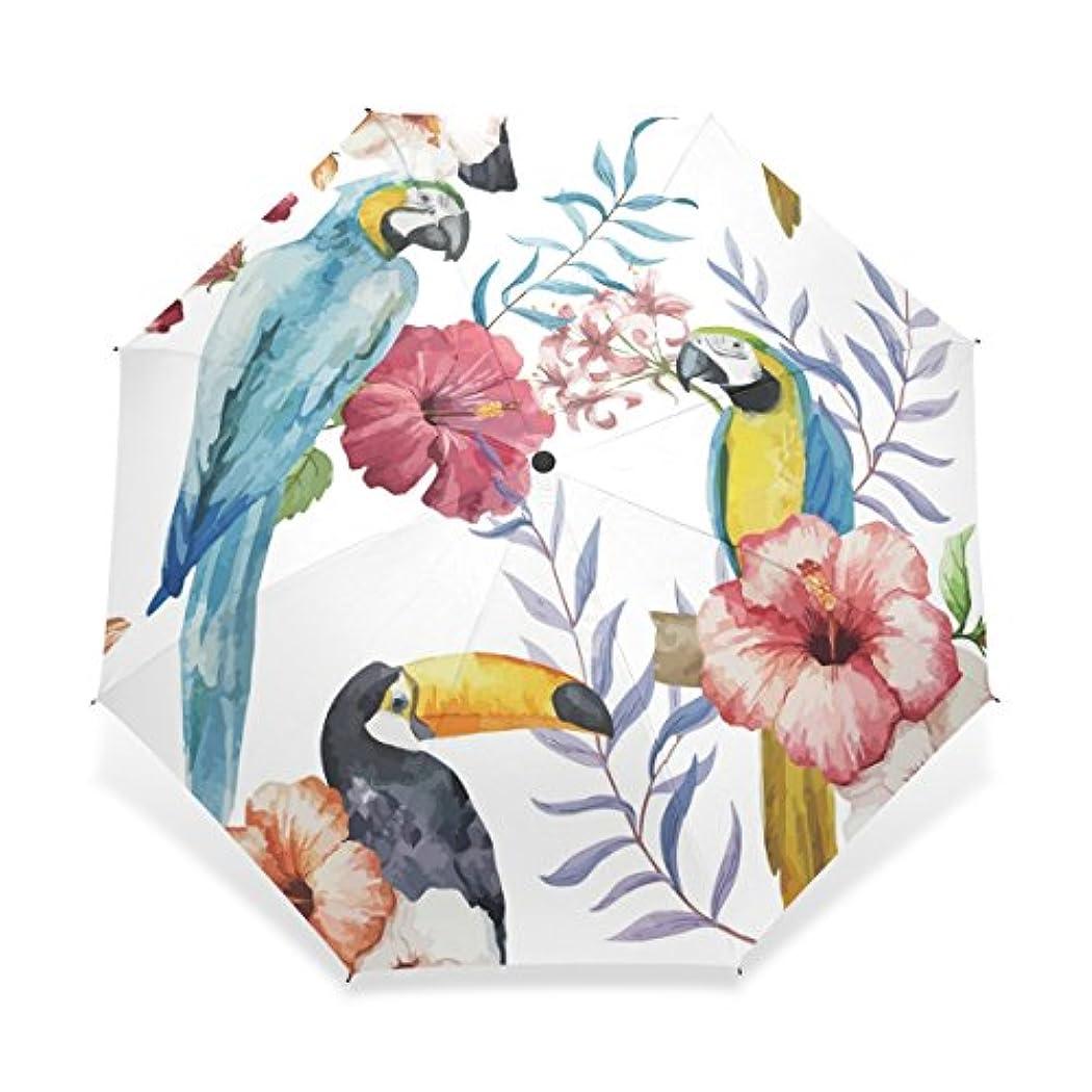 先のことを考えるたらいに対してUSAKI(ユサキ) かわいい 面白い 動物 ハワイ インコ オオハシ グリーン 葉 花柄,折りたたみ傘 3段 晴雨兼用 耐風 日傘 雨傘 手動開閉 携帯用 三つ折り畳み かさ