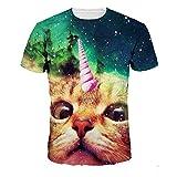 Quceyu t シャツ 夏服 面白い 創意デザイン カジュアル 人気 通販 (猫, S、M、L、XL、XXL、XXXL)