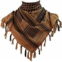 KINGREE Military Shemagh Tactical Desert 100% Cotton Keffiyeh Scarf Wrap, Shemagh Head Neck Scarf, Arab Scarf Classic Brown