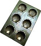 千代田金属 家庭用オーブンサイズ(1/4) シェル型天板 6取 通常シリコン加工 H6-SHL-STD