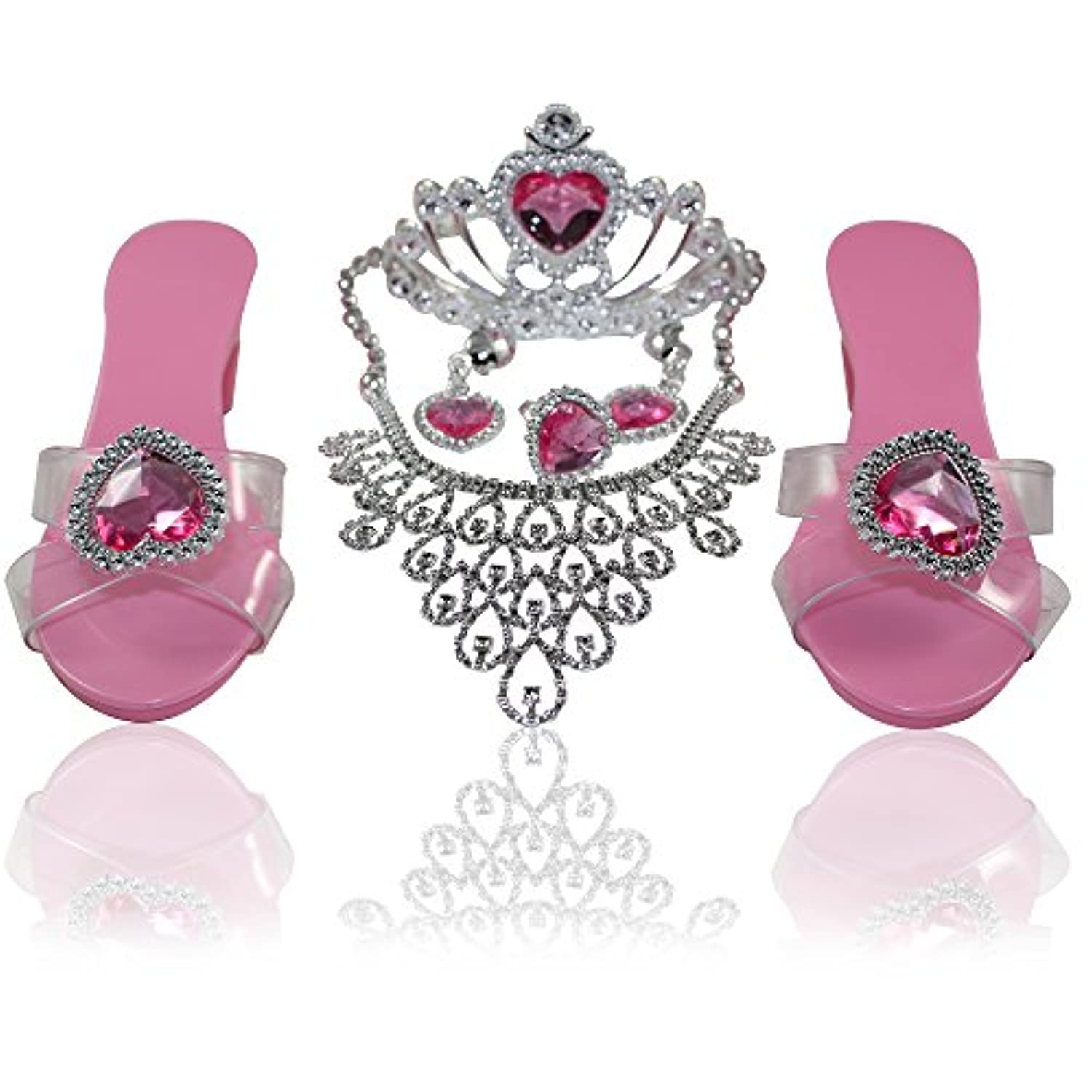 Smarterbuy Toys Little Princess Dress Up Tiara with Necklace, Earrings, Ring, Bracelets and Step In Shoes Fashion Beauty Set for Girls