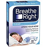 Breathe Right Breathe Right Clear Large Nasal Congestion and Snoring Aid Strips, 30s, Clear Large30 count