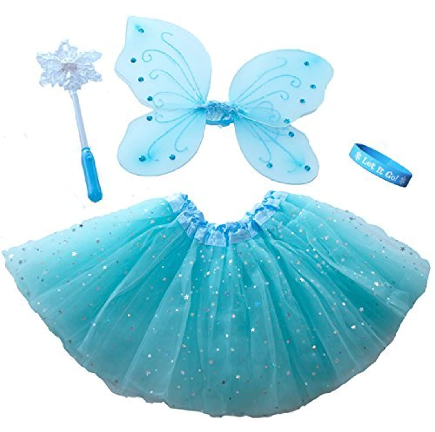 Frozen Inspired Fairy Princess Set with Light Up Snowflake Wand & Our Bracelet [並行輸入品]