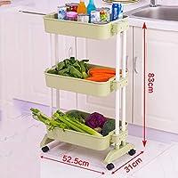 FANGFA キッチン棚プラスチック製の野菜と果物貯蔵ラック2層3層4層プーリー小型カート車輪付き(10サイズはオプション) (サイズ さいず : L*W*H: 52.5*31*83cm-a)
