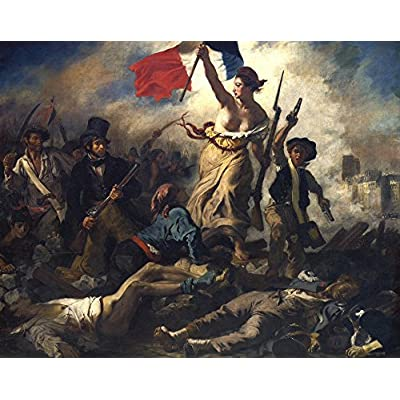 絵画風 壁紙ポスター(はがせるシール式) ドラクロワ 民衆を導く自由の女神 1830年 キャラクロ K-DLC-001S2 (594mm×470mm) 建築用壁紙+耐候性塗料