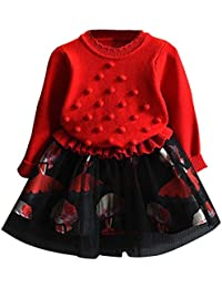 赤+黒 かわいい ワンピース 女の子 子供服 女の子 赤ちゃん服 幼児 子供服 女の子 長袖 5サイズ キッズ服 90CM-100CM-110CM-120CM-130CM(3歳-7歳) (130CM7歳, 赤+黒)