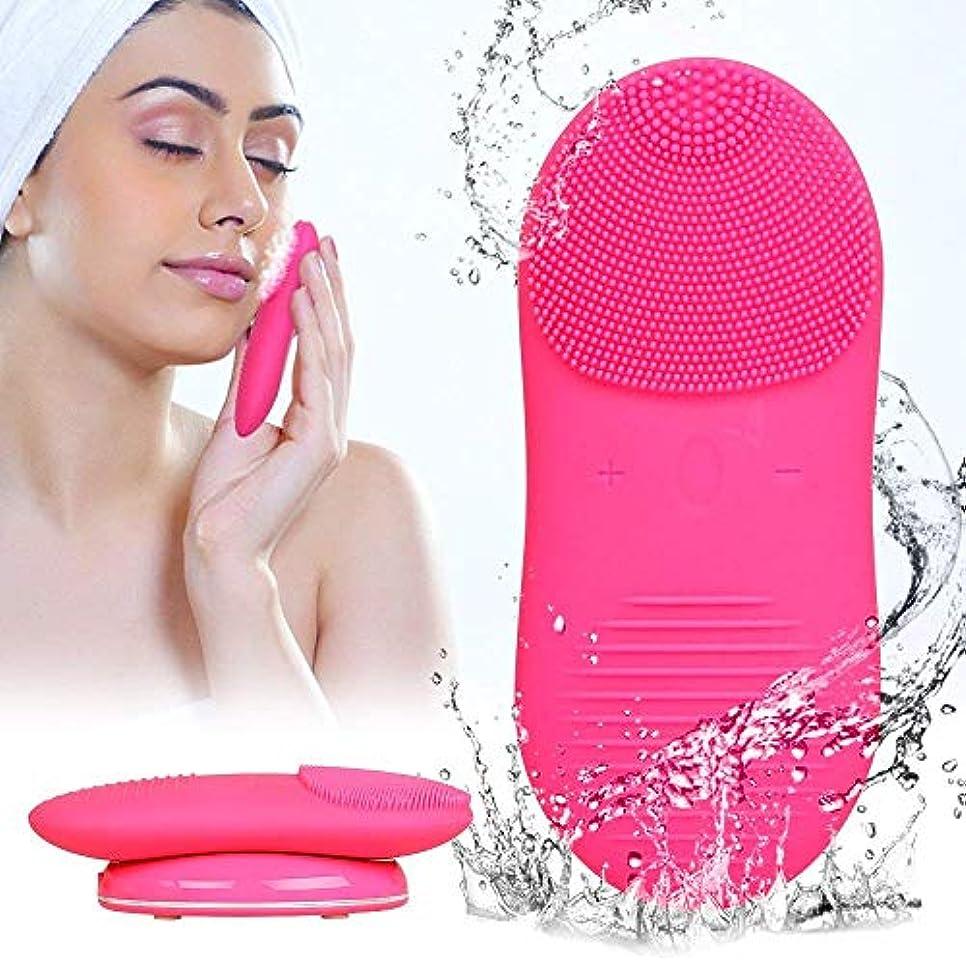 紛争グリット冷凍庫電気クレンジングブラシシリコーンフェイスクレンザー洗顔ブラシ電動ソニック振動穏やかな角質のアンチエイジングマッサージスキンケアバラ色
