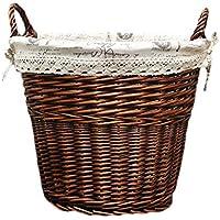 ポータブルラタンランドリーバスケットコットンリネンライニング汚れたハンパー服雑貨保管バスケット、45 * 32 * 47センチメートル (色 : A)
