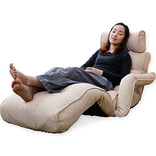LOWYA (ロウヤ) 座椅子 ソファ 肘掛け フットレスト 3Dヘッド リクライニング ポケットコイル ベージュ おしゃれ 新生活