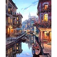 数字によるZDDYX絵画壁の装飾絵画デジタルDIYヴェネツィア夜風景風景絵リビングルームアクリルユニークギフトリネンデコレーションアートcm 40X50Cm with Frame