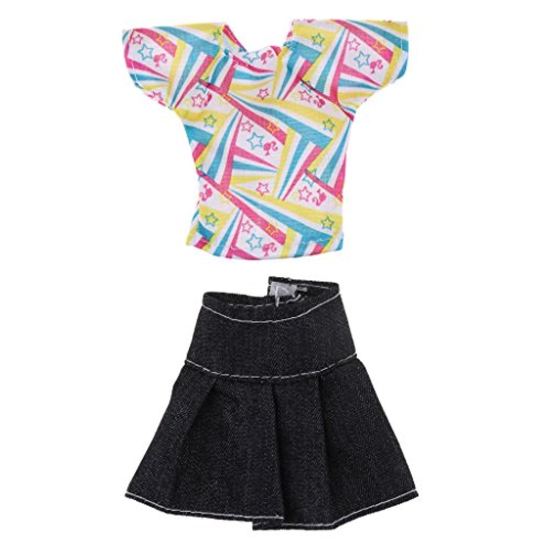 Sharplace バービードールのため 手作り 人形服 服スーツ デニムスカート トップ スーツ