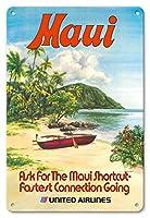 22cm x 30cmヴィンテージハワイアンティンサイン - マウイ島、ハワイ - ユナイテッド航空 - ハワイのアウトリガーカヌー - ビンテージなハワイの旅行のポスター によって作成された ホーレンベック c.1970s