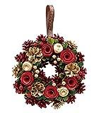 丸和貿易  クリスマス リース ゴールドパインローズ  (L)  壁掛け  玄関飾り    4008736-02