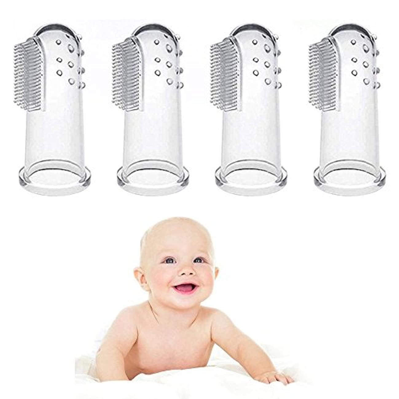 続ける家畜寸前4 個入赤ちゃん指歯ブラシ、赤ちゃん食品グレード シリコーン歯ブラシ歯がため用指歯ブラシと赤ちゃん幼児子供の口腔マッサージ