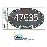 47635 ロックポート, に - ユニセックスメタル - 楕円形郵便番号ステッカー