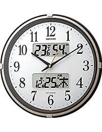 掛け時計 電波時計 温度計・湿度計付き フィットウェーブリブ ブラウン リズム時計 4FYA07SR06