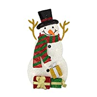 "Northlight H85208 31.5""Lighted Plush Tinsel Snowman with Gift Christmas Yard Art Decoration [並行輸入品]"